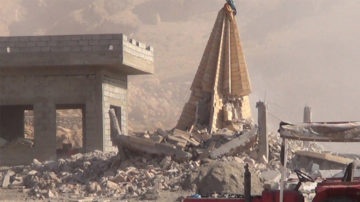 The Islamic State destruction of Kabara temple with dynamite in Shingal, Aug. 26, 2015