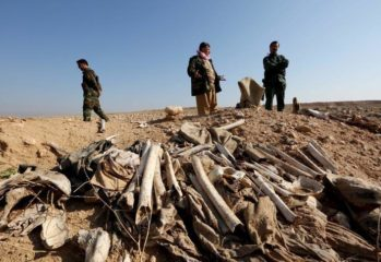 Bones, suspected to belong to members of Iraq's Yazidi community, are seen in a mass grave on the outskirts of the town of Sinjar, November 30, 2015.