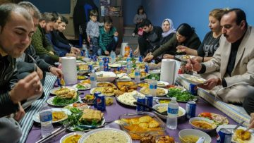 Yazidis feast on traditional foods.