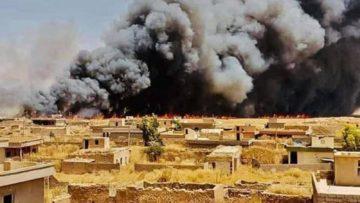 Flames ravaged croplands around Kocho.