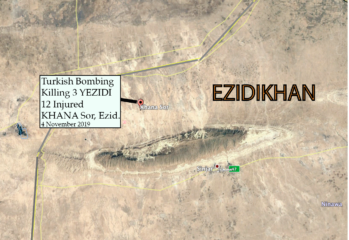 Turkish warplanes strike Yazidi militia base in Shingal on 2019-11-04