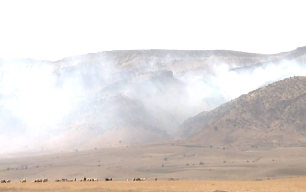 Fires in Shingal after Turkish airstrikes hit the area on June 15, 2020. Photo: Rudaw