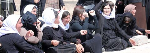 Women of Kocho whose fathers, brothers or husbands were killed. The woman with her hand in the air is Khatoon Ahmed al Jaso, daughter of the Mandkany tribal leader killed Aug 15, 2014 in Kocho.
