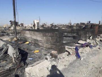 Devastation after fire destroys 400 tents at Sharia camp on 4 June 2021.