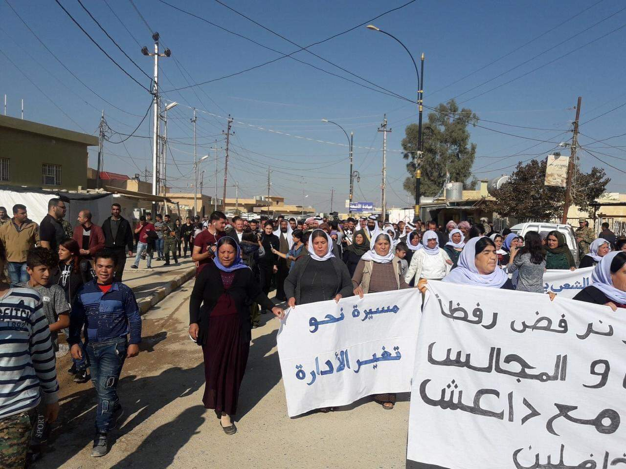Yezidis protest return of Kurdish administrators to Shingal in October 2018.