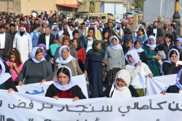Residents of Shingal's Sinune subdistrict predominantly populated by Yezidis stage protests to reject the return of former Shingal administration officials. Nov 9th 2018