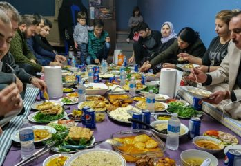 Yazidis feast on traditional foods.