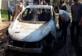A car burned down due to Turkish airstrikes in Khana Sor, in the Sinune sub-district of Shingal Nov.19th, 2019