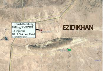 Turkish warplanes strike Yazidi militia base in Shingal on 2019-11-04